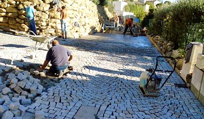 Preparation du sol pour pose de pavé